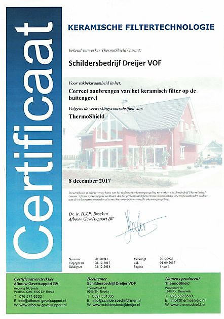 Certificering - Schildersbedrijf Dreijer Beerta